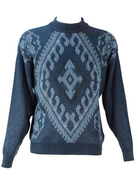 Jumper M L jumper with blue grey patterned jumper m l