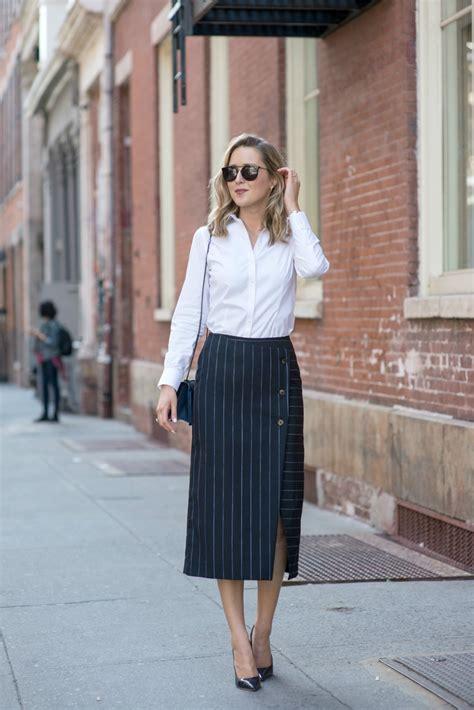 pinstripe wrap midi skirt memorandum nyc fashion