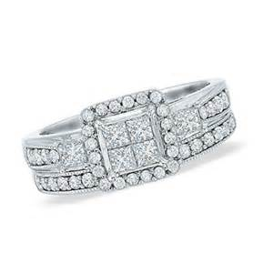 Cut quad diamond bridal set in 10k white gold view all rings zales