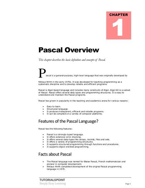 tutorialspoint inheritance pascal tutorial