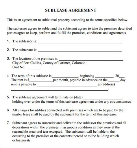 vehicle sublease agreement template sublease agreement 17 free documents in pdf word