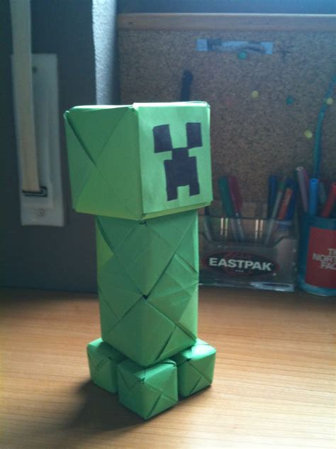 How To Make A Origami Creeper - origami and stuff paper creeper minecraft