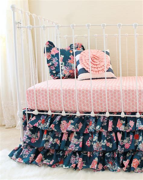 Blush Baby Bedding by Blush And Navy Nursery Bedding Navy Floral Blush Crib