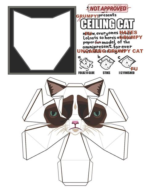 grumpy cat card template grumpy cat paper model all the things i like