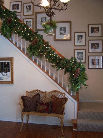 garland for stair banister christmas garland ideas staircase staircase