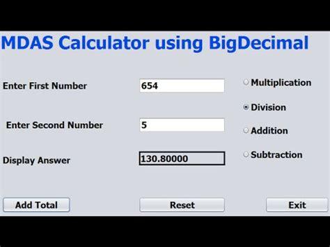 java pattern bigdecimal java netbeans mdas calculator tutorial using bigdecimal