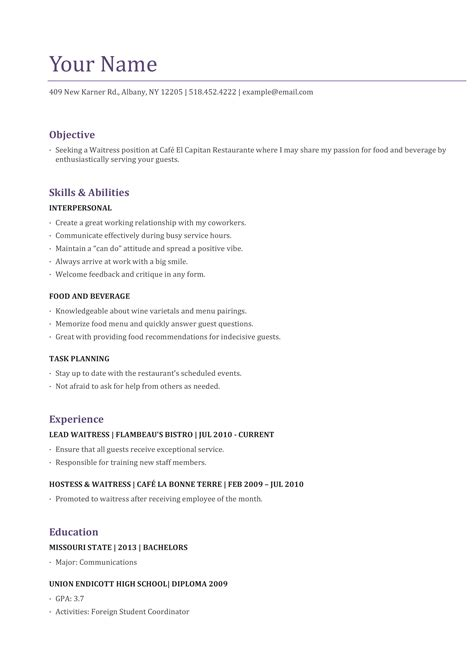 Resume Template For Server Position by Waiter Resume Template Picture