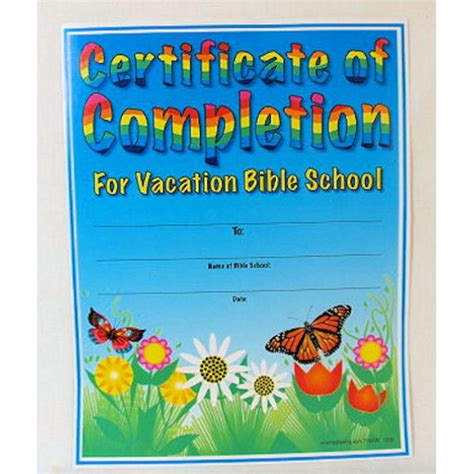 wholesale vbs certificates of completion 25 pcs sku