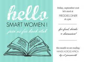 Book Club Invitation Template by Book Club Invites Turquoise Hello Book Club Invites