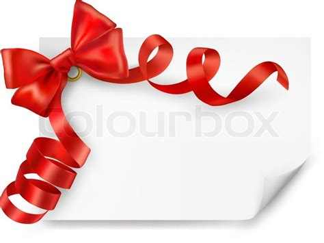 My Ribbon Gift Card Price - card with red gift bow with ribbons vector stock vector colourbox