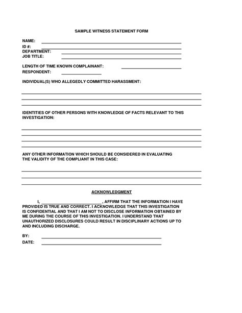 12 Best Photos Of Employee Witness Statement Form Template Incident Witness Statement Template Witness Statement Template