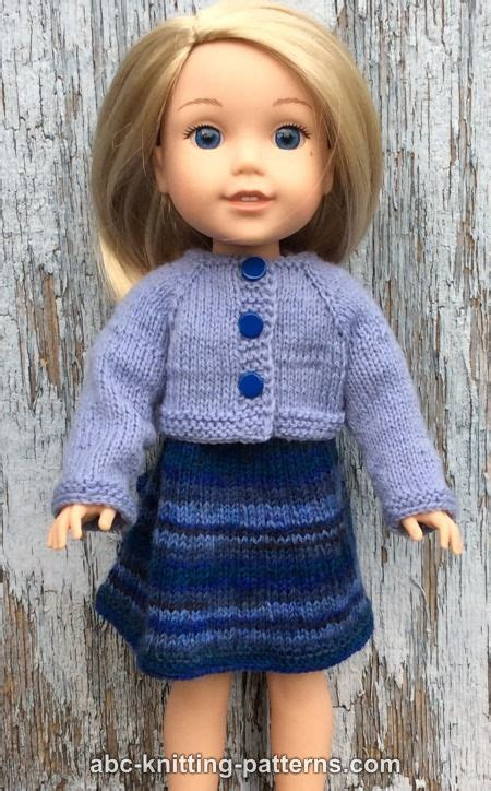 free knitting patterns for 14 inch doll clothes abc knitting patterns wellie wishers doll dress and