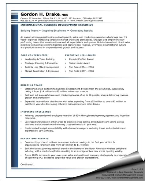 business development manager resume sle business development resume business development