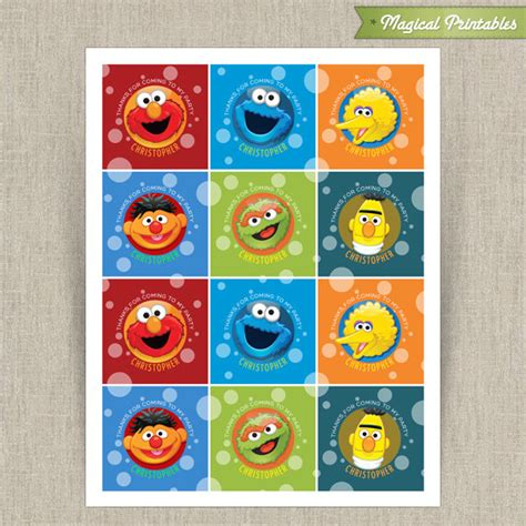 free printable elmo name tags sesame street printable birthday favor tag labels