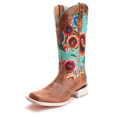 s brown and turquoise square toe floral boot by ariat