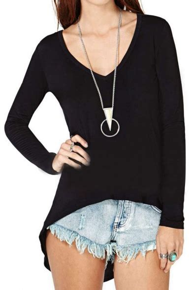 Plain V Neck Sleeve Top plain v neck sleeve tunic top in dip hem details
