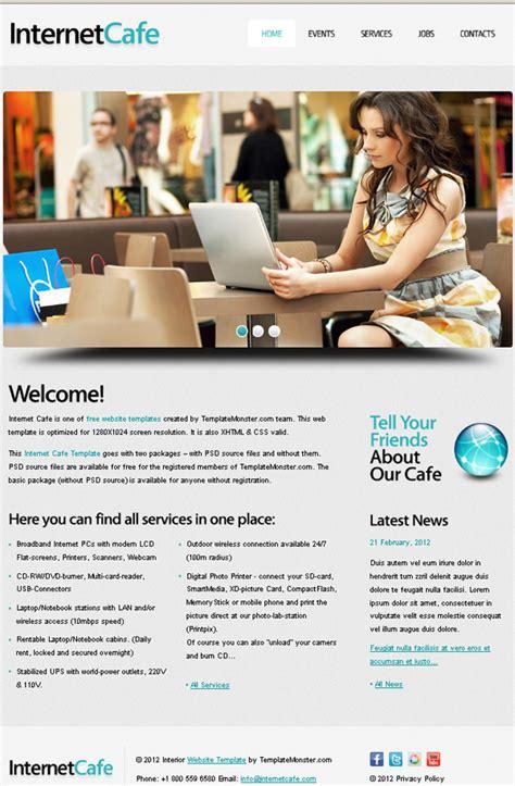 Internet Cafe Website Template Template Cafe Website Template