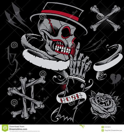 skull skeleton hand bones and ribbons stock vector