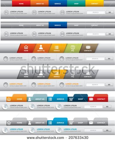 Web Menu Stock Images Royalty Free Images Vectors Shutterstock Navigation Bar Templates