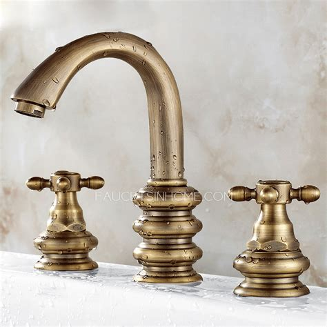 vintage brushed copper three bathroom sink faucet