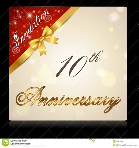 10 Year Anniversary With Ribbon Invitation Card Stock