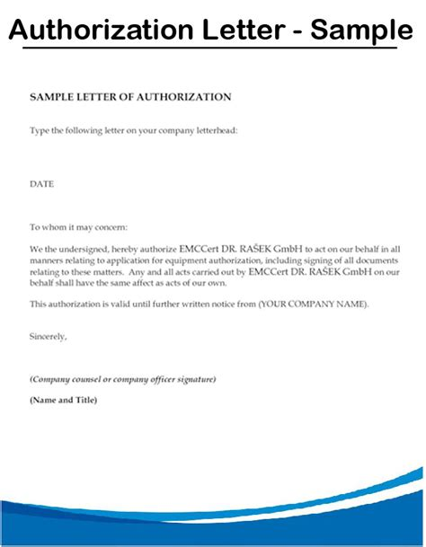 authorization letter by company exle of authorization letter for representative