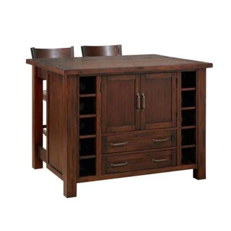 home depot kitchen islands cabin creek wood drop leaf breakfast bar kitchen island with 2 stools 5410 948 the home depot