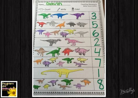 Lv Bordir Set Pouch daughters and kindergarten counting dinosaurs