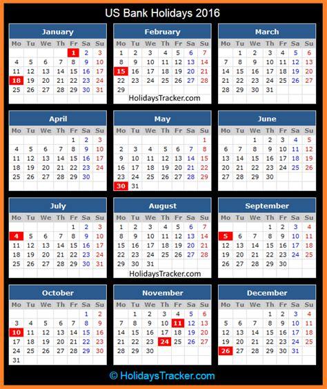 2015 Calendar With Us Holidays Us Bank Holidays 2016 Holidays Tracker