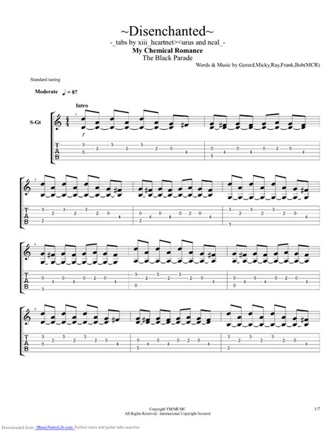 dead eyes glow let love in guitar playthrough disenchanted guitar pro tab by my chemical romance