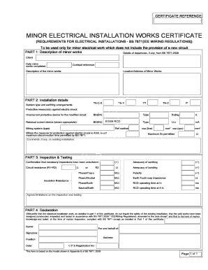electrical minor works certificate template iet forums wiring and regulations fill printable