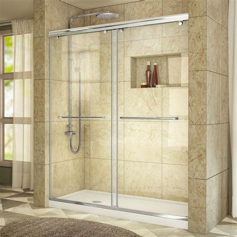 Acrylic Shower Door Dreamline Charisma 32 In X 60 In X 78 75 In Semi Frameless Sliding Shower Door In Chrome And