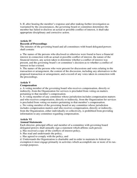 conflict of interest policy template sle conflict of interest policy free