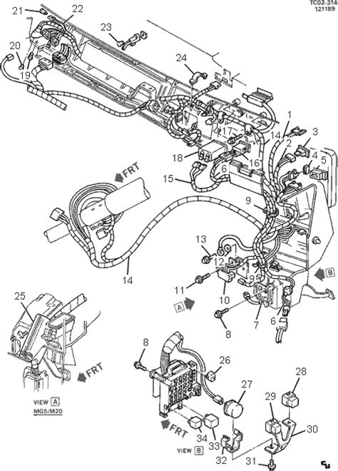 the location of the wireing harness for a 1988 chev diagram