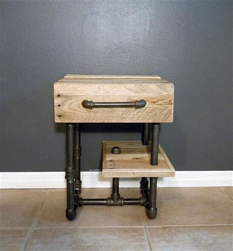 diy plumbing pipe table diy pallet side table nightstand with recycled pipes
