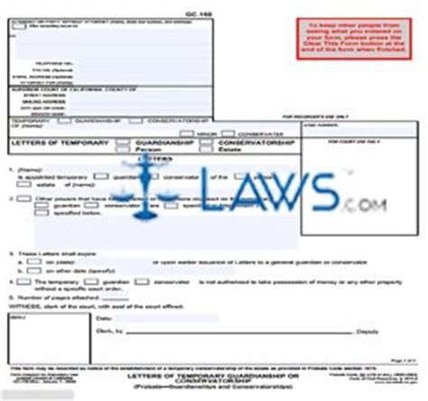form gc letters  temporary guardianship california