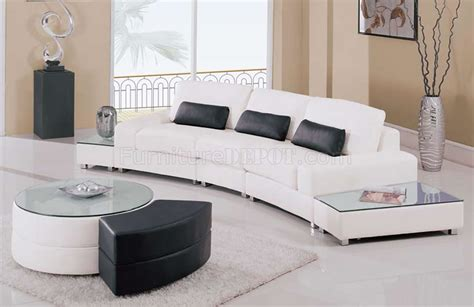 white leather 5pc modern sectional sofa w glass top end tables