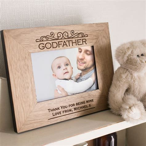 engraved wooden picture frame godfather
