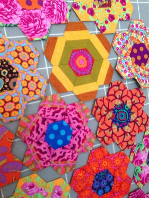 glorious color hexie madness kaffe fassett hexagon blocks at glorious