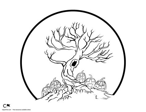 spooky tree coloring page spook halloween tree coloring page clipart fort