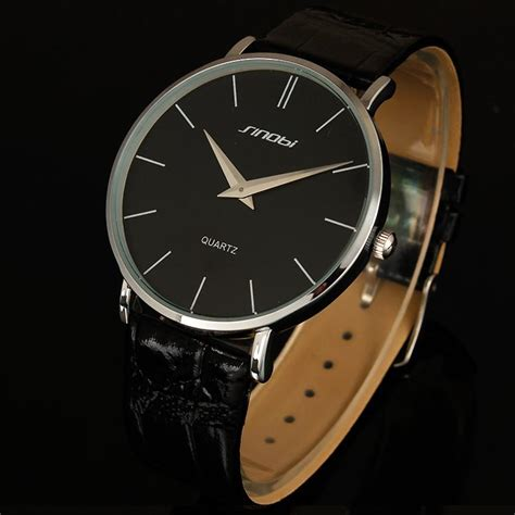 Jam Tangan Untuk Pria Tangan Kecil 2016 baru sinobi jam tangan merek mewah kulit perhiasan untuk pria ultra tipis kuarsa