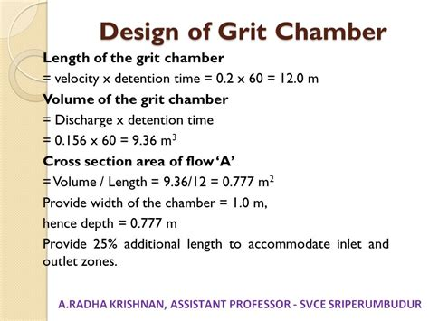 design criteria for grit chamber unit i planning for sewerage systems ppt download