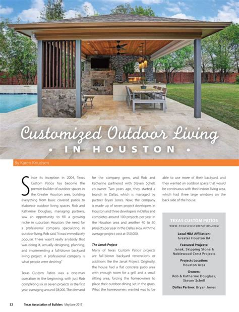 custom home builder magazine customized outdoor living by texas builder magazine