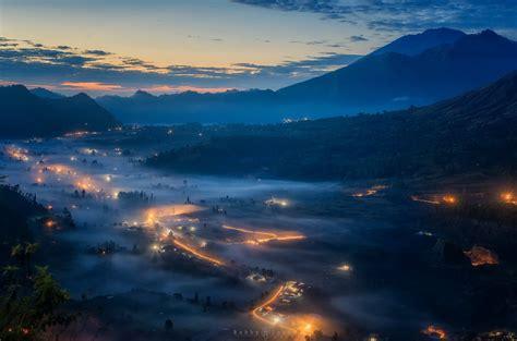 valley lights bali mountain morning fog valley lights hd wallpaper