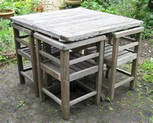 antiques atlas weathered teak garden set of table and
