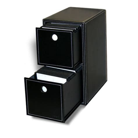 Leather Storage Drawers by Black Faux Leather 2 Drawer Filling Storage 200 Disc