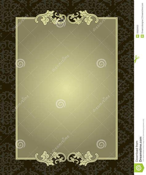 pattern card stock ornamental frame on damask pattern background card stock