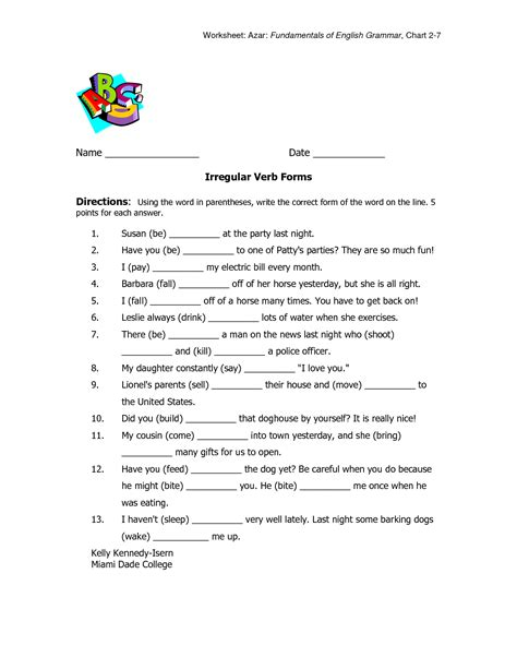 Irregular Past Participle Worksheet