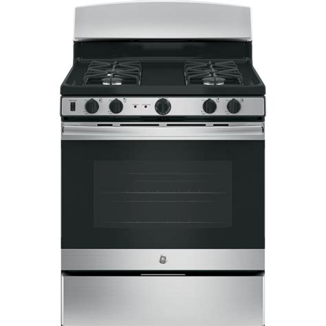 Oven Gas Standing ge 30 in cu ft free standing gas range with self cleaning oven in stainless steel jgb450rekss