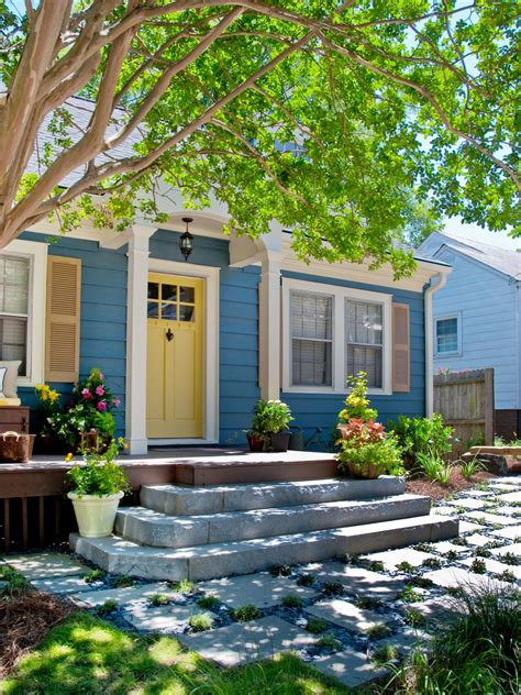 blue house yellow door photos hgtv